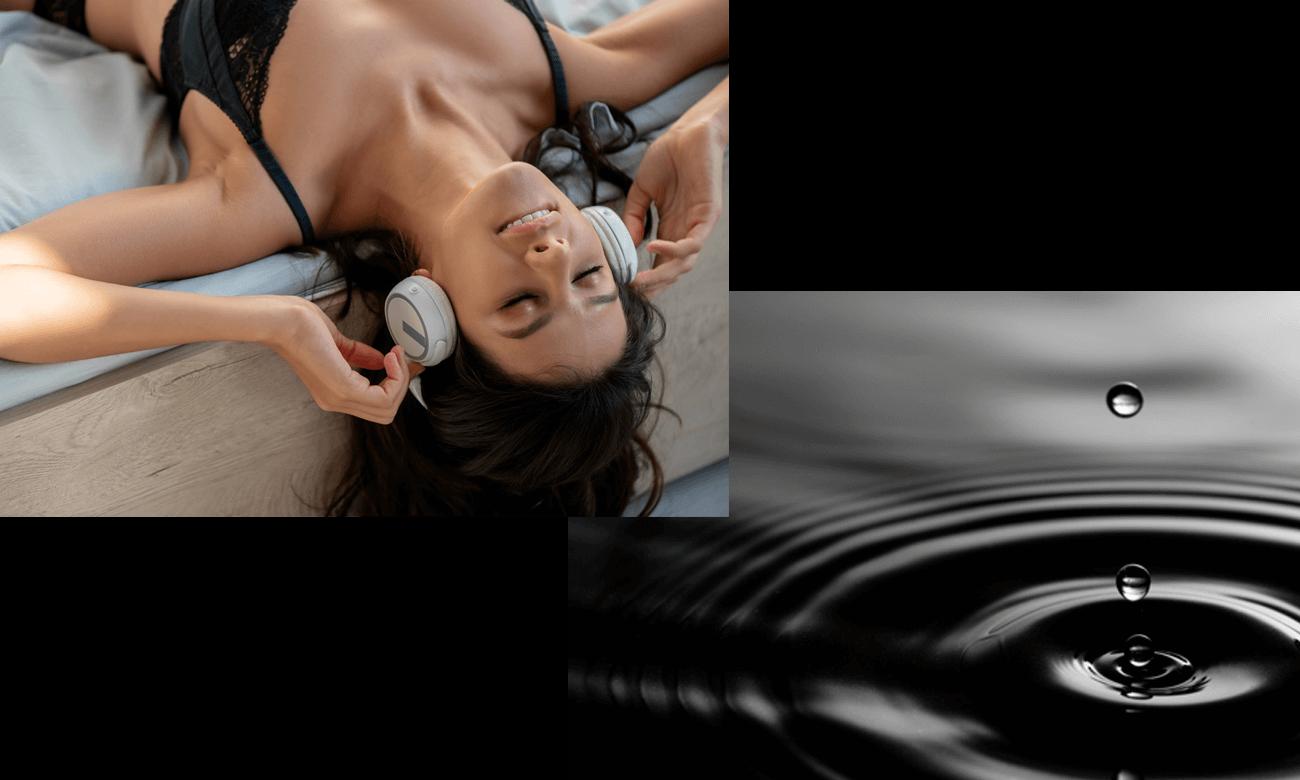 Frau entspannt beim Hören von ASMR Erotik Hörspiel